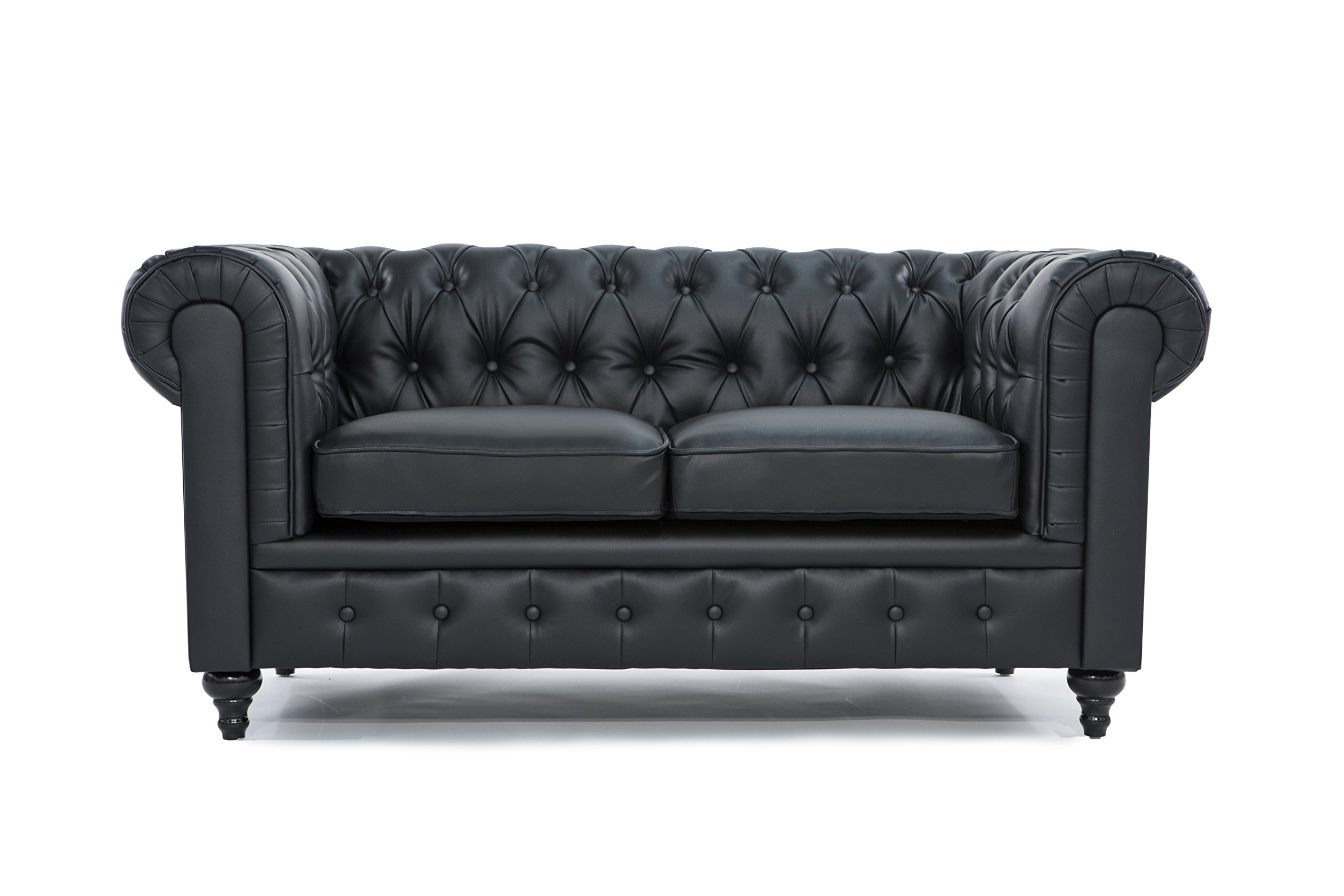 Classic Scroll Arm Tufted Bonded Leather Chesterfield 2 Seater Loveseat (Black) by Divano Roma Furniture
