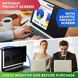 Adaptix Laptop Privacy Screen 15.6 - Information Protection Privacy Filter for Laptop - Anti-Glare, Anti-Scratch, Blocks 96% UV - Matte or Gloss Finish Privacy Screen Protector - 16:9 (APF15.6W9) (Color: Black (1-Pack), Tamaño: 15.6 WIDESCREEN (16:9))