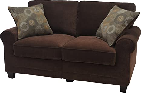 Serta CR-43528PB Trinidad Collection 61inch Love Seat, Chocolate Fabric