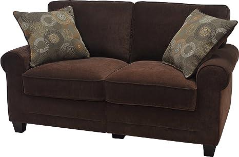Serta CR-43528PB Trinidad Collection 61inch Love Seat, Chocolate Fabric