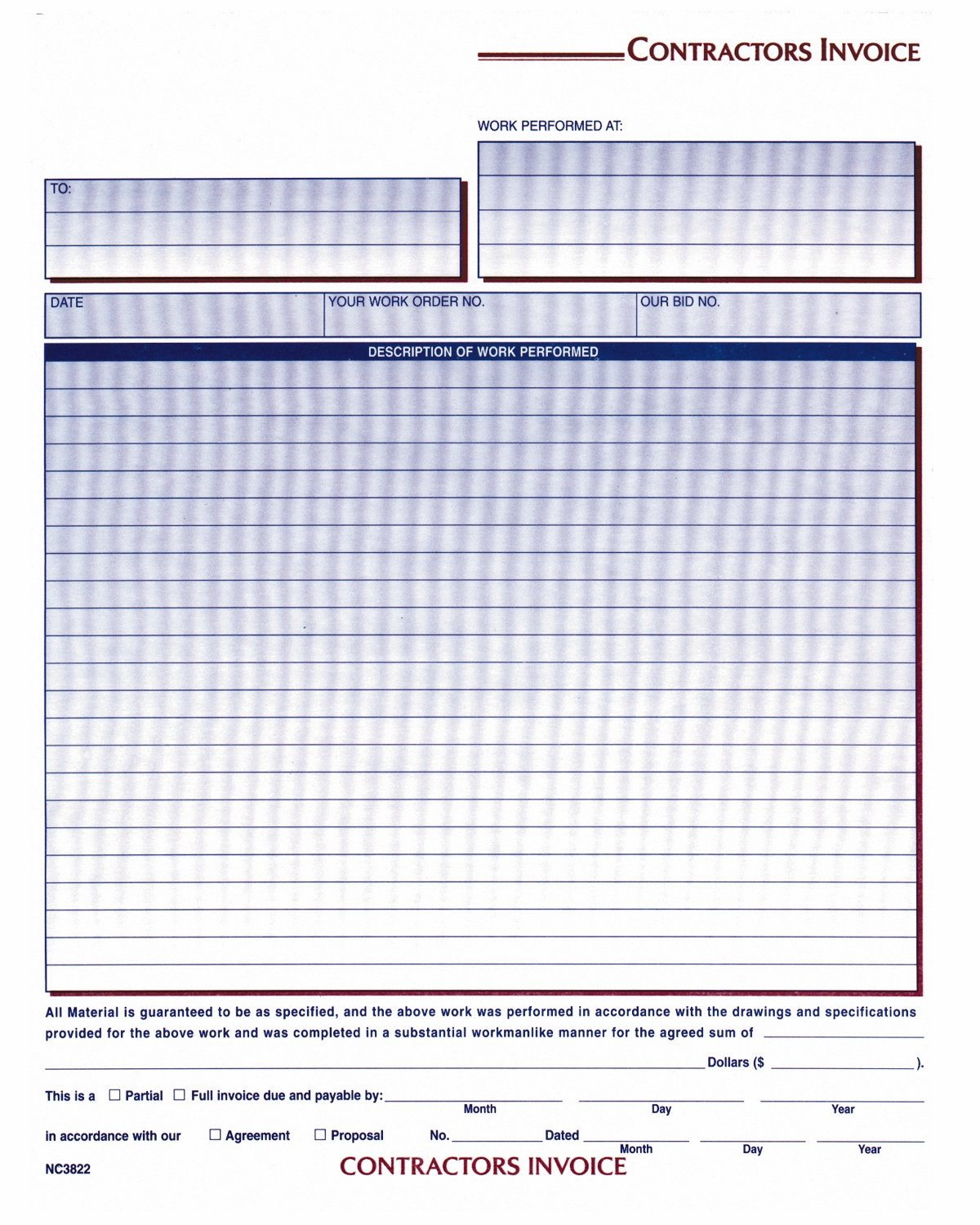 adams contractor invoice forms 8 5 x 11 44 inch 3 part carbonless 100 pac