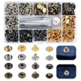 Arokimi Snap Fastener Kit,Metal Snaps Buttons with Fixing Tools, 6 Color Clothing Snaps Kit for Clothing, Leather, Jacket, Jeans Wear, Bags, Bracelet (Color: Gold)