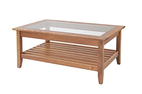 Manchester Wood Glass Top Coffee Table - Golden Oak