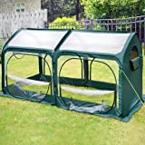 Quictent Pop up Greenhouse Passed SGS Test Eco-friendly Fiberglass Poles Overlong Cover 6 Stakes 98