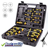 Amartisan 42-piece Magnetic Screwdriver Set with Case, Includs Slotted, Phillips, Hex, Pozidriv,Torx and Precision Screwdriver Set (Color: Yellow, Tamaño: Slotted/Phillips/Hex/Pozidriv/Torx)