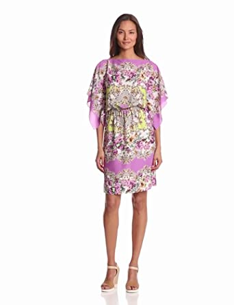Maggy London Women's Printed Blouson Dress, Freesia, 2