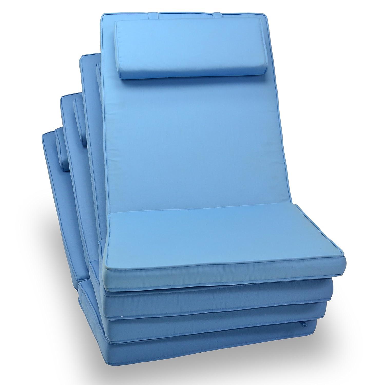 4-er Set Sitz-Auflagen Polster für Hochlehner Garten- und Klappstuhl Campingstühle Terrassenmöbel hochwertig bequem hellblau jetzt kaufen
