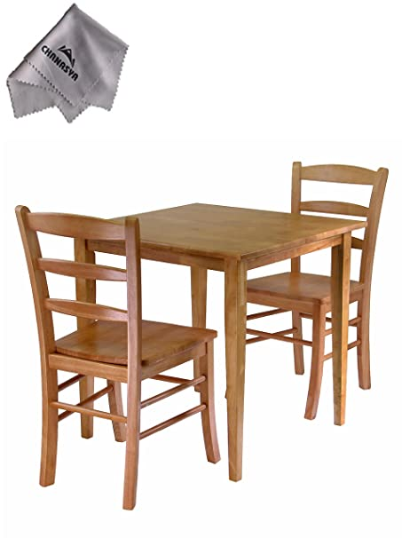 Groveland 3pc Dining Set, Square Table with 2 Chairs and With Chanasya Polish Cloth