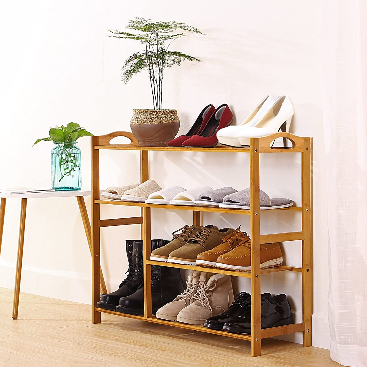 "Ollieroo Thickened Natural Bamboo Shoe Rack Shoe Shelf Storage Organizer for About 13 Pairs of Shoes Size 31.5""X10.3""X26"" (4 Tier)"