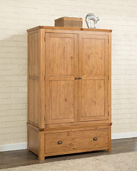 Suffolk Solid Wooden Pine Double Wardrobe with drawer