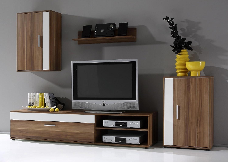 833: moderne Wohnwand – TV-Möbel – walnuss-weiss dekor – Schrank jetzt kaufen
