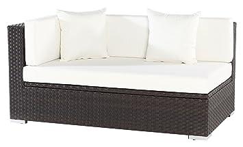 OUTFLEXX 2-Sitzer Ecksofa aus hochwertigem Polyrattan, braun strukturiert mit Kissenbox-Funktion, 145 x 85 x 70 cm, Armlehne rechts, inkl. Kissen, Lounge-Sofa, Couch, wetterfest, rostfrei, Boxfunktion