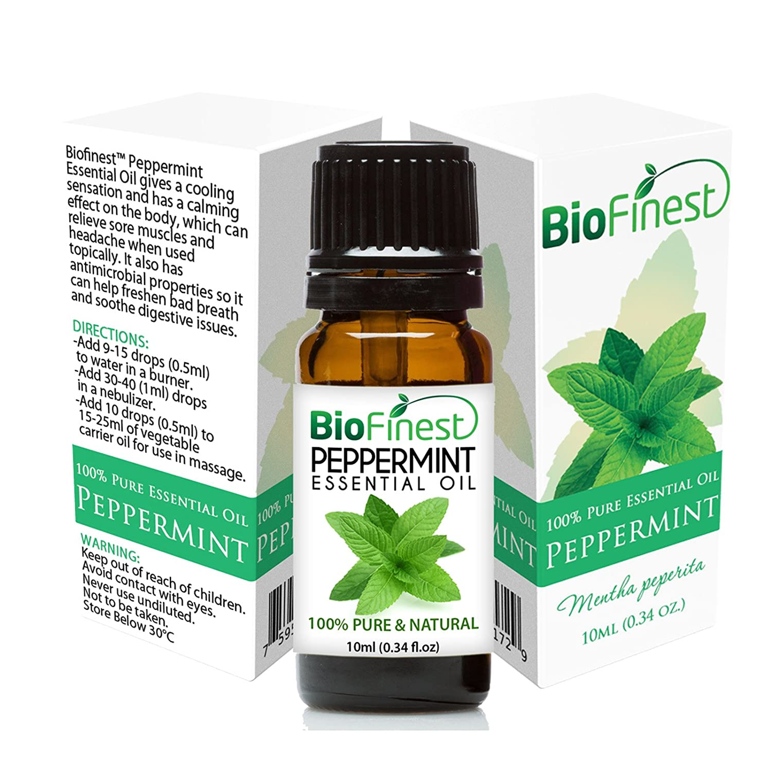 Peppermint Essential Oil - 100% Pure Undiluted - Therapeutic Grade - Premium Quality - Best For Aromatherapy, Headaches and Migraines Relief - Elegant Gift & Traveling Pack (10ml)