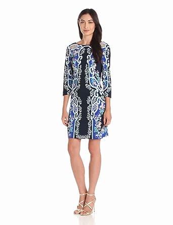 Ali Ro Women's  3/4 Printed Jersey V Beck Dress, Midnight Multi, 8