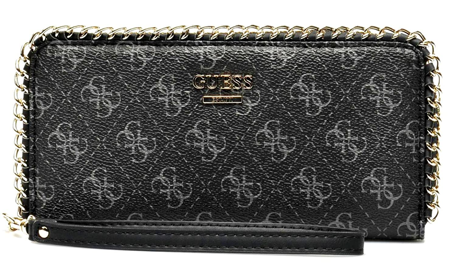 GUESS Confidential Logo Chain Zip-Aroud Wallet Clutch, Black guess guess flsup3 sup12 black
