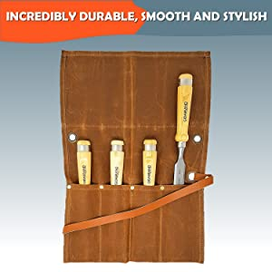 """Professional Wood Chisel Set with Tools Roll Bag – Carving & Woodworking Equipment with Chrome Vanadium Steel Blades & Ergonomic hardwood Handles – Sizes 6mm, 13mm, 18mm, 24mm (1/4"""", 1/2"""", 3/4"""", 1"""") (Tamaño: 6mm, 13mm, 18mm, 24mm (1/4, 1/2, 3/4, 1))"""