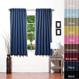 Solid Thermal Insulated Blackout Curtain 63L- 1 Set-NAVY