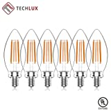 TECHLUX C35 Vintage LED Filament Candles Light Bulbs Dimmable Candelabra/Chandelier Bulbs,5.5W(60W Equivalent),Clear Class,2700K Warm White,E12 Screw Base,Pack of 6 (Color: Warm White, Tamaño: 60w 2700k C35 E12)