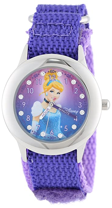 Disney Kids' W000390 Glitz Cinderella Stainless Steel Time Teacher Purple Velcro Strap Watch