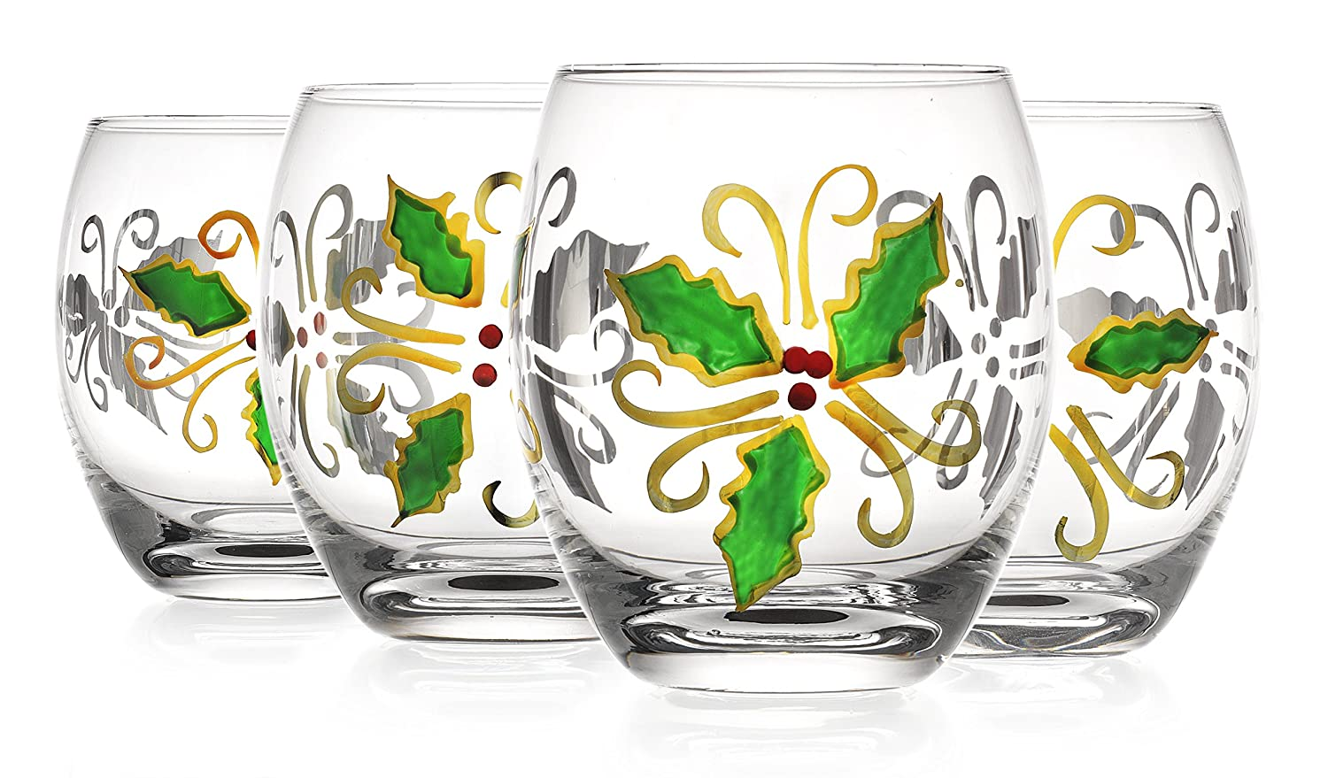 Holly Christmas Wine Glasses | Christmas Wikii