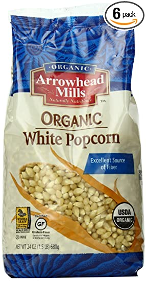 Arrowhead Mills Organic White Popcorn, 24 Ounce (Pack of 6)