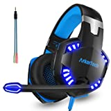 Gaming Headset with Mic Over Ear Stereo 3.5mm Headphones Gamer with Microphone Noise Canceling (Free Adapter)