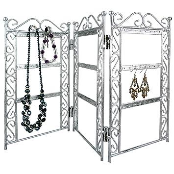paravent de rangement 3 panneaux pour accrocher boucles. Black Bedroom Furniture Sets. Home Design Ideas
