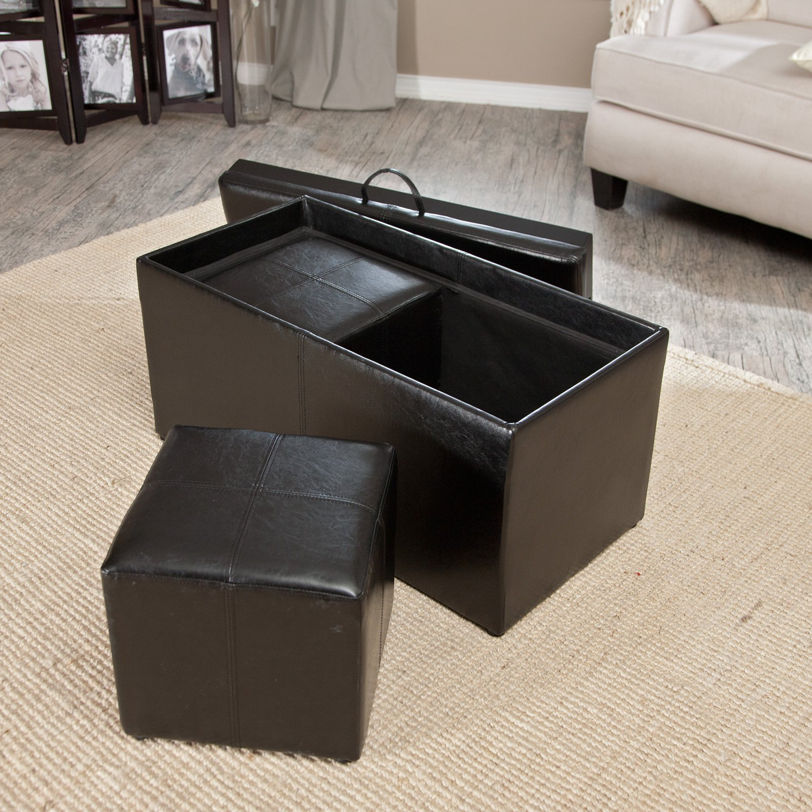 Hartley Coffee Table Storage Ottoman With Tray Side Ottomans Side Pocket