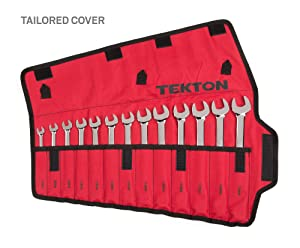 TEKTON Combination Wrench Set with Roll-up Storage Pouch, Metric, 7 mm - 19 mm, 13-Piece | WRN03391 (Tamaño: 13 Piece)