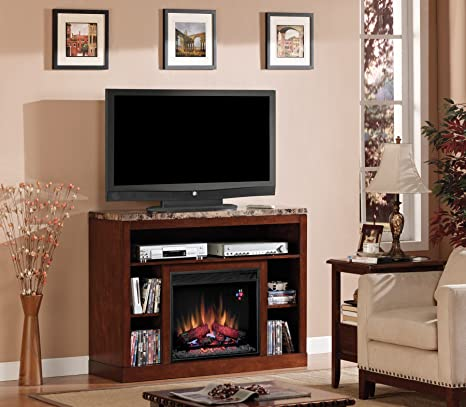 """ClassicFlame 23MM1824-C244 Adams TV Stand for TVs up to 50"""", Empire Cherry  (Electric Fireplace Insert sold separately)"""