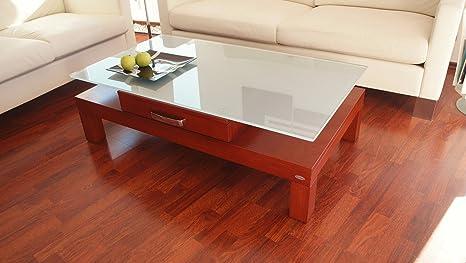 DESIGN COUCHTISCH Tisch V-470H Kirschbaum Milchglas Carl Svensson