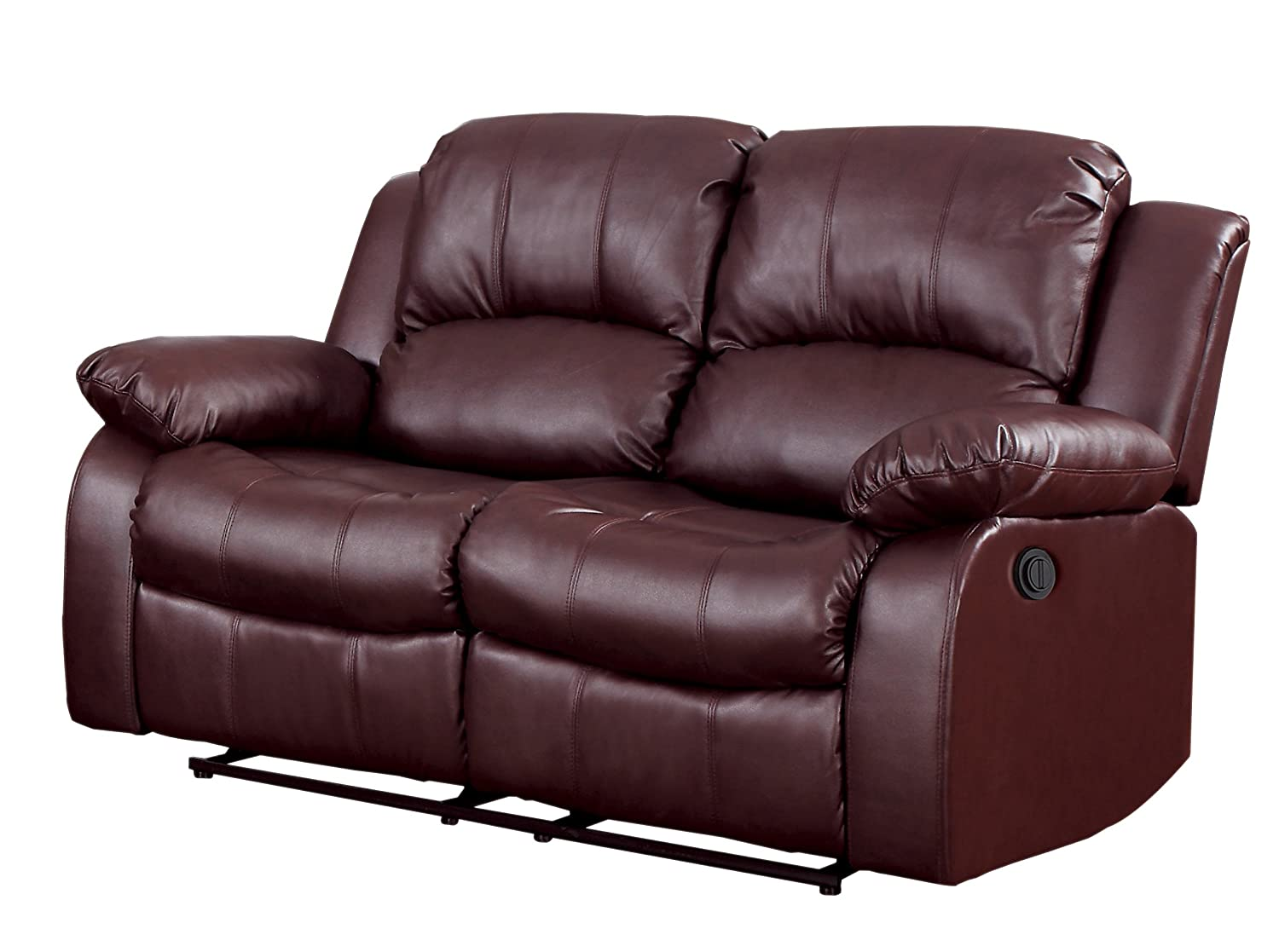 Homelegance 9700BRW-2PW Plushy Rolled Tufted Power Reclining Motion Bonded Leather  Love Seat - Brown