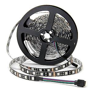 SUPERNIGHT - Black PCB 5050 RGB LED Strip -,16.4ft 60Leds/M, 300 Leds Color Changing LED Lights, Non-waterproof Flexible Rope Lighting Decoration (Black PCB Strip) (Color: Black PCB Strip)