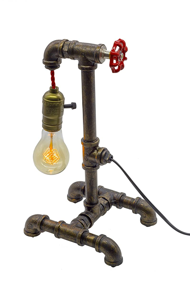 """Y-Nut Loft Style Lamp, """"Fisherman"""", Steampunk Industrial Vintage Style, Water Pipe Table Desk Light With Dimmer, Aged Rustic Metal (Black) QTF-TB01-BLK"""