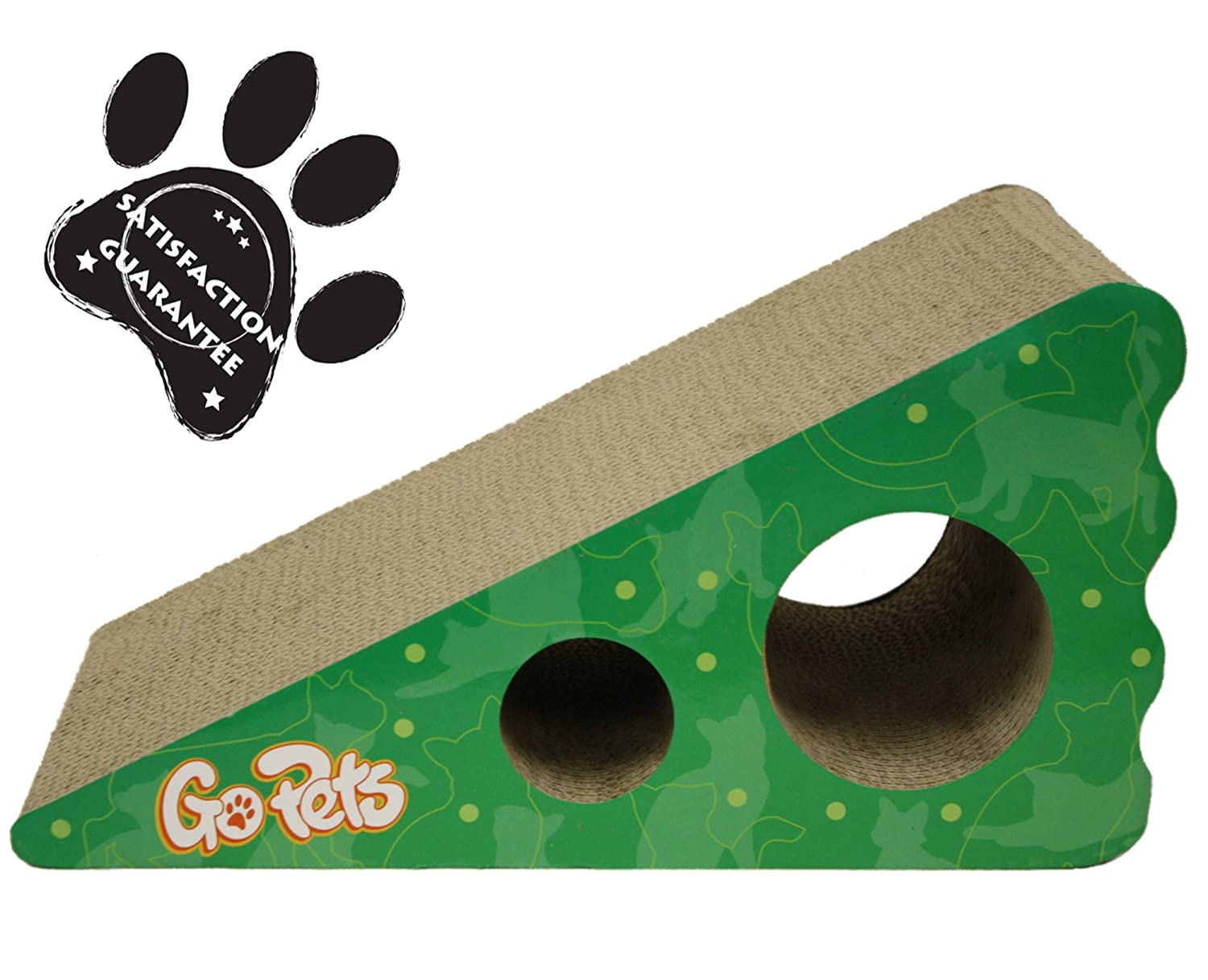 Cat Scratcher by GoPets ✮57% OFF This Week ONLY Summer Sale✮ | Reversible Wedge Last 2X as Long | Includes ✮FREE✮ Catnip | Natural Incline Improves & Maintains Claw Health | Satisfaction Guarantee