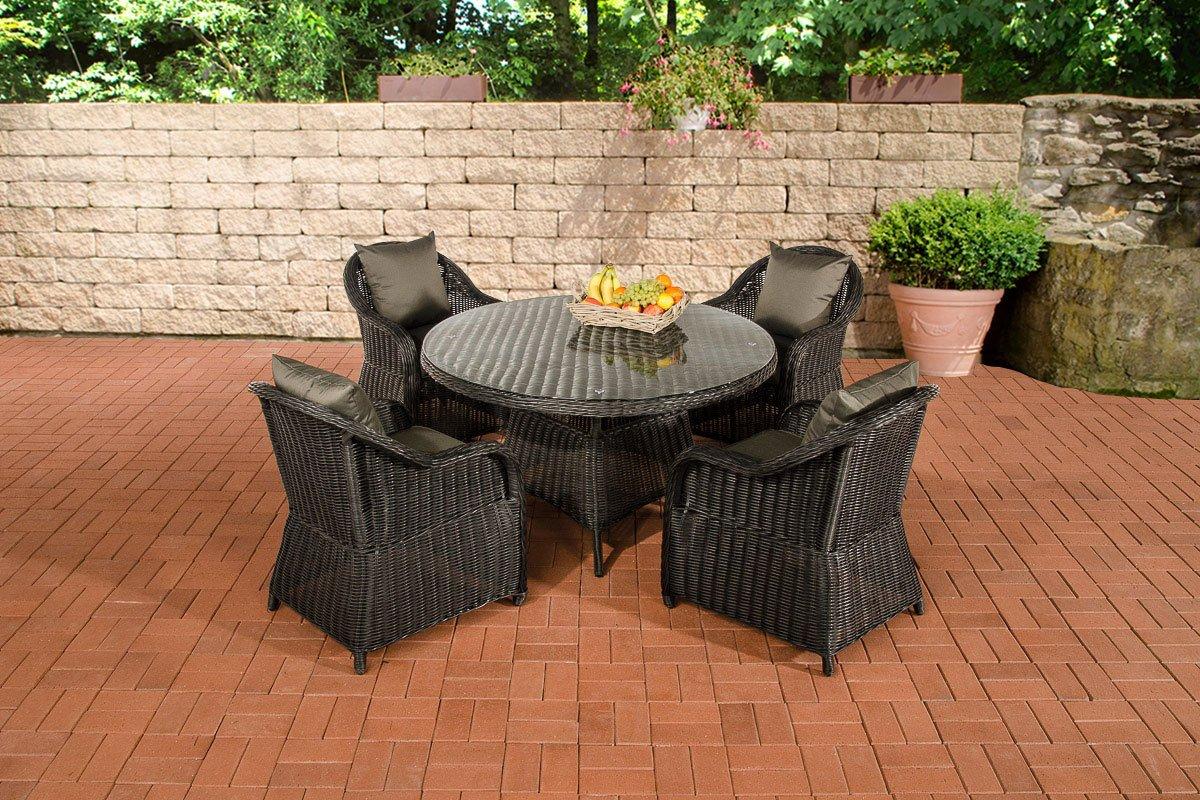 CLP Polyrattan Sitzgruppe MOA schwarz, 5 mm Rund-Rattan, mit Aluminiumgestell (4 Sessel + runder Tisch Ø 130 cm + 10 cm dicke Sitzauflagen) schwarz, Bezugfarbe anthrazit günstig bestellen