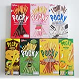 Glico Pocky Biscuit Stick 7 Flavor Variety Pack (Pack of 7) Pocky Chocolate, Strawberry, Matcha Green Tea, Cookies & Cream , Almond , Mango and Choco Banana