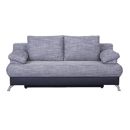Schlafsofa Schlafcouch Sofa MILA, in hellgrau/schwarz, mit Bettkasten Kissen und verchromte Metallfuße