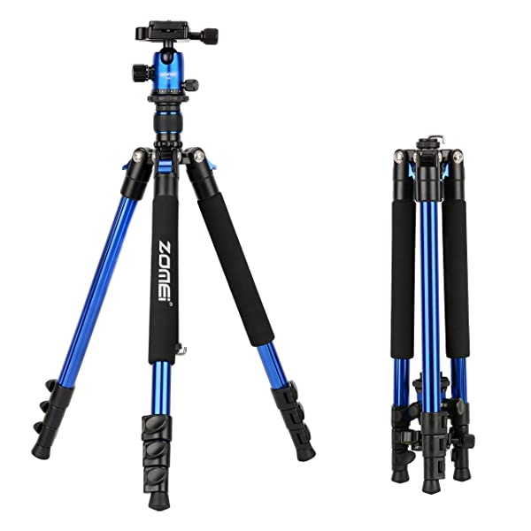 ZOMEi Q555 Lightweight Alluminum Alloy Camera Tripod with 360 Degree Ball Head + 1/4 Quick Release Plate For Canon Nikon Sony Samsung Panasonic Olympus Fuji DSLR And Camcorders(Blue) (Color: Q555-Blue)