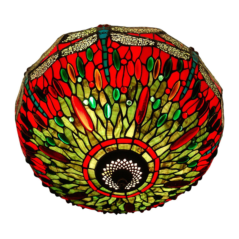 Arte Dal Mondo Deckenleuchte dragonfly im glas tiffany-stil handwerk PD16322