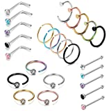 LOYALLOOK 25PCS Stainless Steel Fake Septum Ring Nose Hoop Piercing Clicker Ring Stud Nose Ring CZ Body Jewelry Piercing (Color: A:Colourful-Tone 8mm inner size hoop)