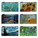 FM FM42 Van Gogh Paintings 6PCS Small Canvas Bag with Inner Lining Black Zipper 18cm10.5cm(7