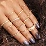 12 Pcs Women Golden Retro Knuckle Ring Set Alloy Knot Carved Joint Knuckle Nail Midi Ring Set Boho Ring Set