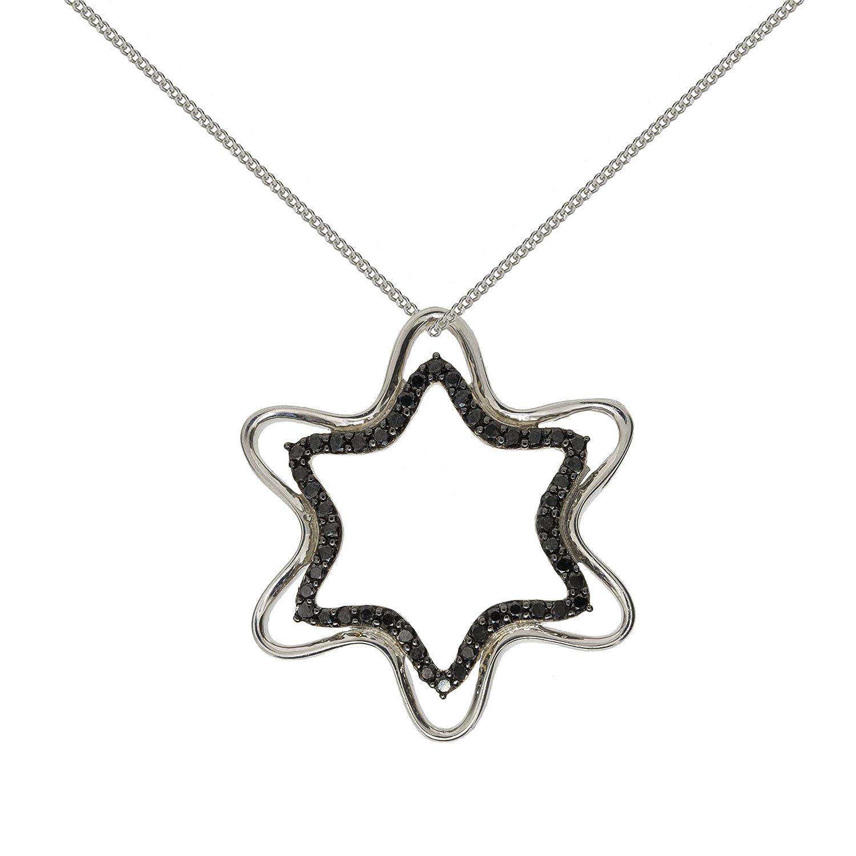 Edler 925 Sterling Silber Damen – Anhänger + Kette mit schwarzem Diamant 0.50 Karat – 33mm*33mm als Weihnachtsgeschenk kaufen