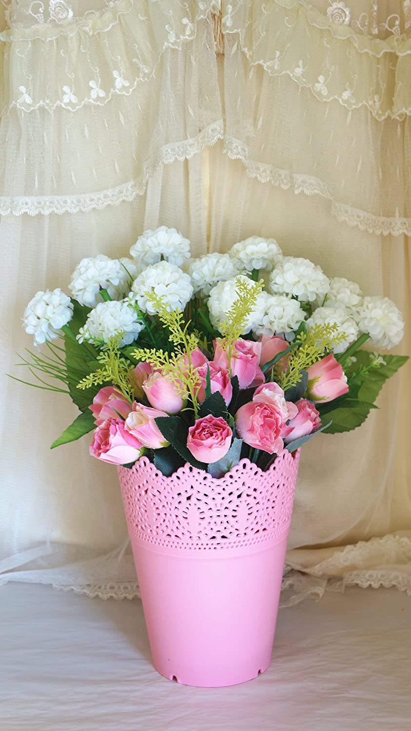Sweet Home 11'' Pink Rose Buds Silk Artificial Flower Arrangement Mixed with Two White Hydrangea Chrysanthemum Bushes w/ Pink Hollow Plastic Pot