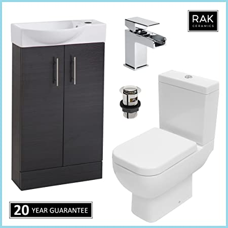 RAK Series 600 cassetta per WC pan & nero 500 mm Slimline con lavabo cascata rubinetto guardaroba set