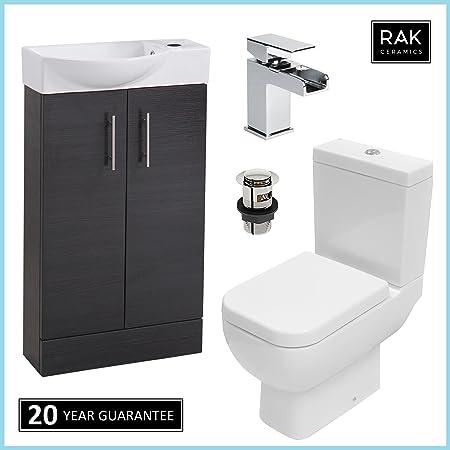 RAK Series 600cassetta per WC pan & nero 500mm Slimline con lavabo cascata rubinetto guardaroba set