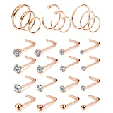 FIBO STEEL 25Pcs 20G Stainless Steel Stainless Steel Hoop Nose Rings Screw Stud Rings Piercing Jewelry Colored CZ Inlaid Rose Gold-Tone (Color: F:25 rose gold-tone)