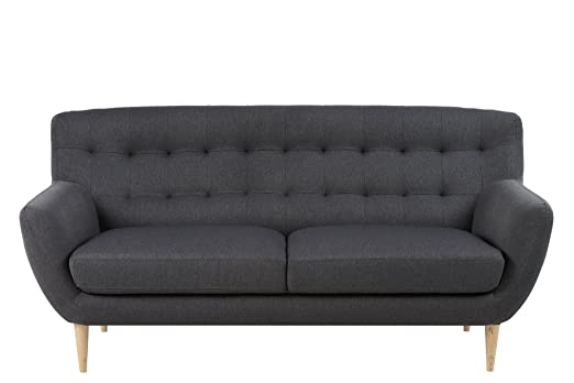AC Design Furniture 60484 Sofa Jimmy 3-Sitzer, circa 185 x 87 x 84 cm, Stoff dunkelgrau