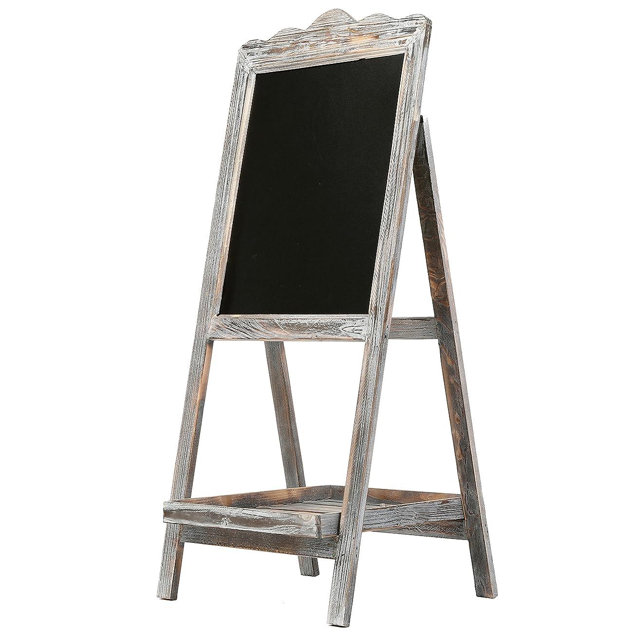 MyGift Torched Wood Chalkboard Easel, Freestanding Vintage Sign Blackboard, Brown 2